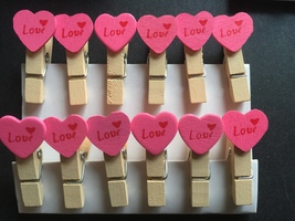 120pcs Pink Heart Wooden Clips,Pin Clothespin,Wooden Pegs,Wedding Party ... - $9.80+