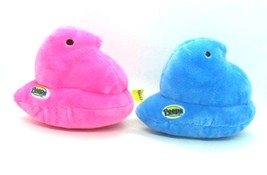 PEEPS Candy Easter Holiday PLUSH 2 CHICKS Baby Chick 1 Blue & 1 Pink lot - $14.24