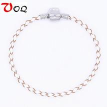 100% Genuine Leather Bracelets For Women Silver Plated Charm Bracelet Li... - $10.19