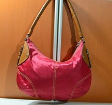 Nine West Nylon Leather stitched Purse Hand shoulder Bag Hot Pink Fucsia - $28.02