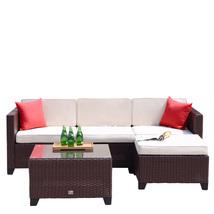 5 PC Rattan Wicker Sofa Set Cushioned Sectional Outdoor Garden Patio Fur... - $429.99