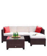 5 PC Rattan Wicker Sofa Set Cushioned Sectional Outdoor Garden Patio Fur... - $429.99