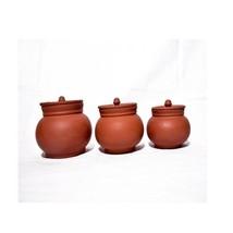 earthenware dinner serving bowl set Vintage design organic natural pots with lid - $41.58