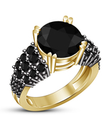 Round Cut Black Diamond Yellow Gold Over 925 Pure Silver Womens Engagement Ring - $74.99