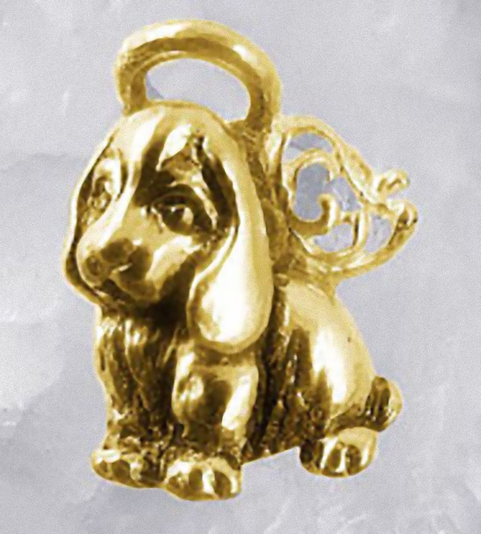 NICE New Gold plated Guardian angel puppy dog Real Sterling Silver .925 Jewelry