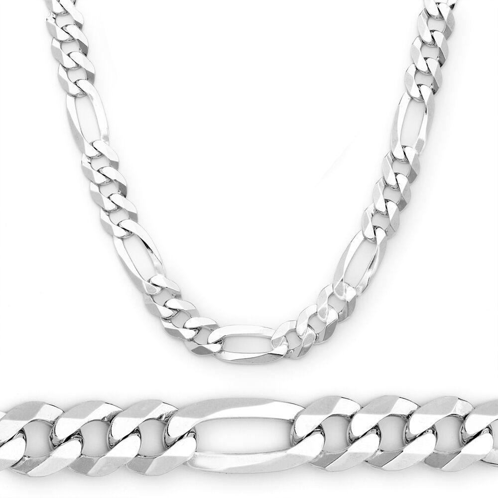 5MM Solid 925 Sterling Silver Figaro Link Italian Italy Men's Chain Necklace