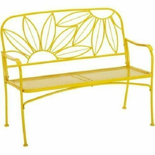 Hello Sunny Metal Yellow Outdoor Patio Bench Loveseat Backyard Garden Furniture image 3