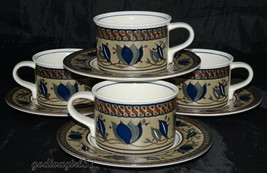 Mikasa Arabella * 4 SETS CUPS and SAUCERS * Intaglio, Malaysia, EXC! - $11.99