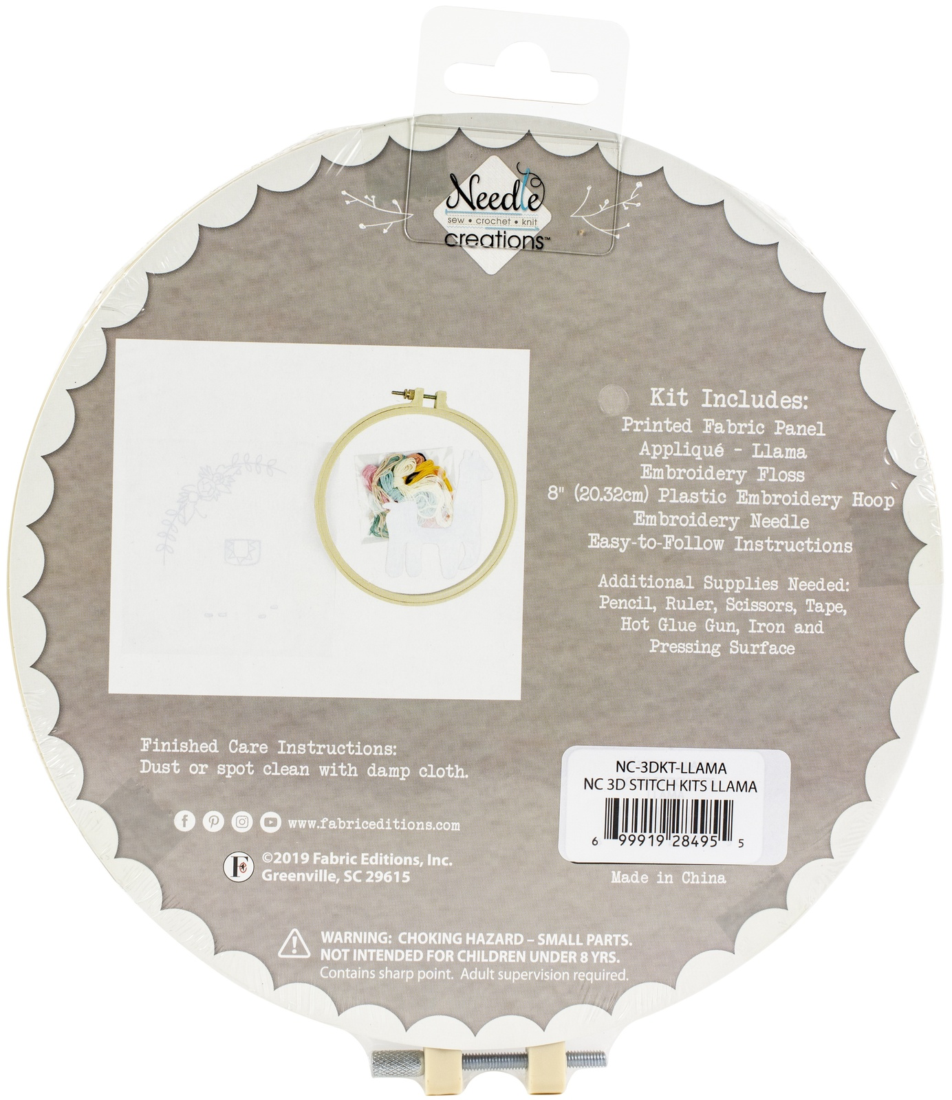 "Primary image for Fabric Editions Needle Creations 3D Stitch Kits 8""-Llama"