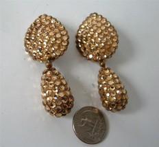 Vintage Gold Crystal Encrusted Earrings Like Richard Kerr Teardrop Dangl... - $26.72