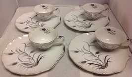 """Lefton China """"Wheat Pattern"""" #224 Set of 4 Snack Plates & Teacups - $15.48"""