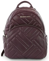 Michael Kors Abbey Quilted Medium Backpack Bag Damson Leather - $281.91