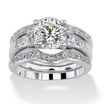 2.95 TCW CZ Platinum over Silver 3-Piece Bridal Ring Set - $47.99