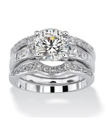 2.95 TCW CZ Platinum over Silver 3-Piece Bridal Ring Set - $47.99