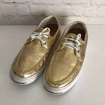 Jack Purcell Gold Leather Slip On Boat Shoes Womans 9 Metallic Limited E... - $28.98