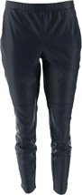 H Halston Petite Faux Stretch Leather Ponte Leggings Navy 6P NEW A294047 - $51.46
