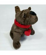 Dan Dee French Bulldog Plush Brown Stuffed Animal Dog Red Heart Collar V... - $24.74