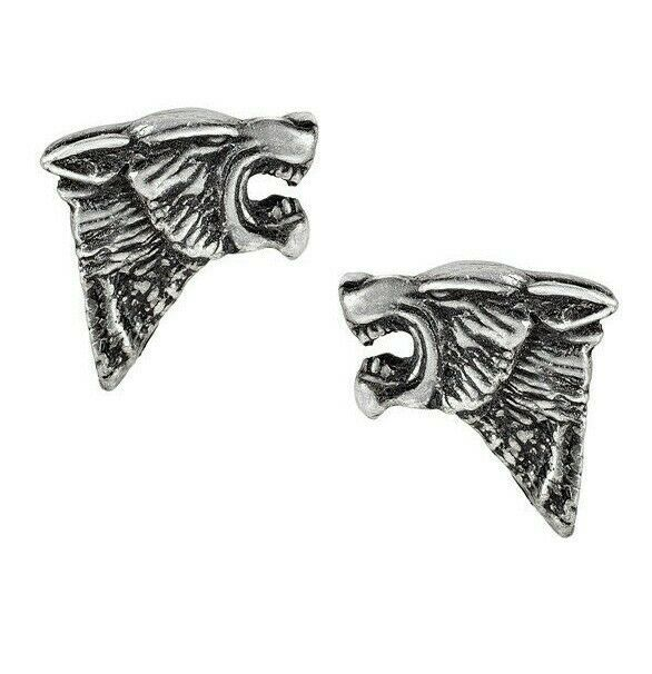 Primary image for Alchemy Gothic Fierce Snarling Dark Wolf Stud Earrings Surgical Steel Posts E435