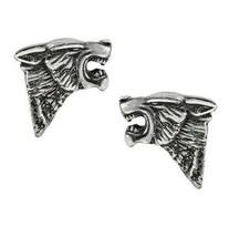 Alchemy Gothic Fierce Snarling Dark Wolf Stud Earrings Surgical Steel Po... - $13.45
