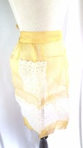 Apron Carmen Lee Sheer Yellow Easter White Eyelet Half Waist Apron Hostess  - $11.26