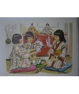 Japanese Girls in Kimono with Dolls - Art Print - David C. Cook Co 1967 - $14.22