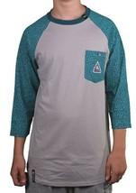 LRG Mens Dark Teal Asphalt Grey Colors Of Season Baseball Raglan T-Shirt NWT