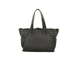 CHANEL New Travel Line Tote Bag Black CC Auth 10653 **TEAR image 2
