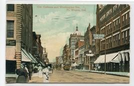 Calhoun & Washington Streets Fort Wayne Indiana 1909 postcard - $6.39