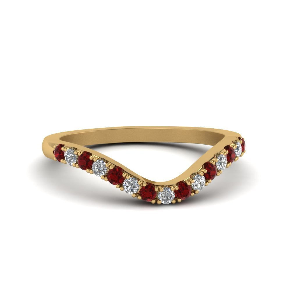 Primary image for Custom Red Ruby & CZ Diamond 14K Yellow Gold FN Curved Wedding Band Ring