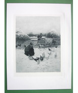 OHIO Farm in Winter Girl Feeding Poultry Cow in Snow - Victorian Era Print - $16.84