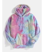Multi-Color Tie-Dye Plush Hoodie - £34.09 GBP