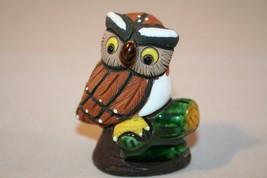 Folk Art Clay Ceramic Owl Figure Figurine Signed Maguz - $5.99