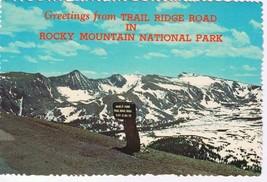 Colorado Postcard Highest Point Trail Ridge Road Rocky Mountain National... - $2.22