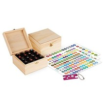 Wooden Essential Oil Box - Holds 16 30ml Essential Oil Bottles - Includes Labels