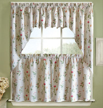 English Garden Floral White Jacquard Kitchen Curtains Tier, Valance or Swag - $13.89+