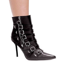 STORE CLOSING---> Stiletto Patrol BOOTIES Size 6 Buckle Pin-Up Sexy domi... - $17.32