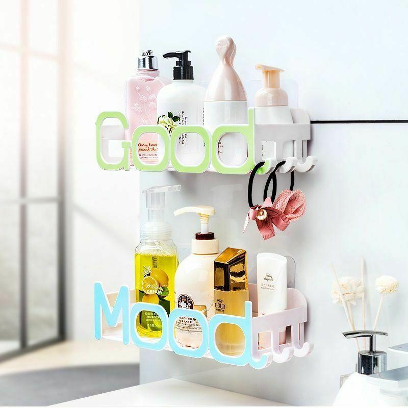 Corner Storage Wall Mounted Plastic Suction Bathroom Shelf Storage Basket Holder image 2
