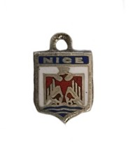 Vintage  Silver Nice France French Enamel Travel Flag Shield Charm - $12.86