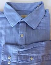 Michael Kors Men Dress Shirt Long Sleeve Blue 17 34/35 100% Cotton - $25.49