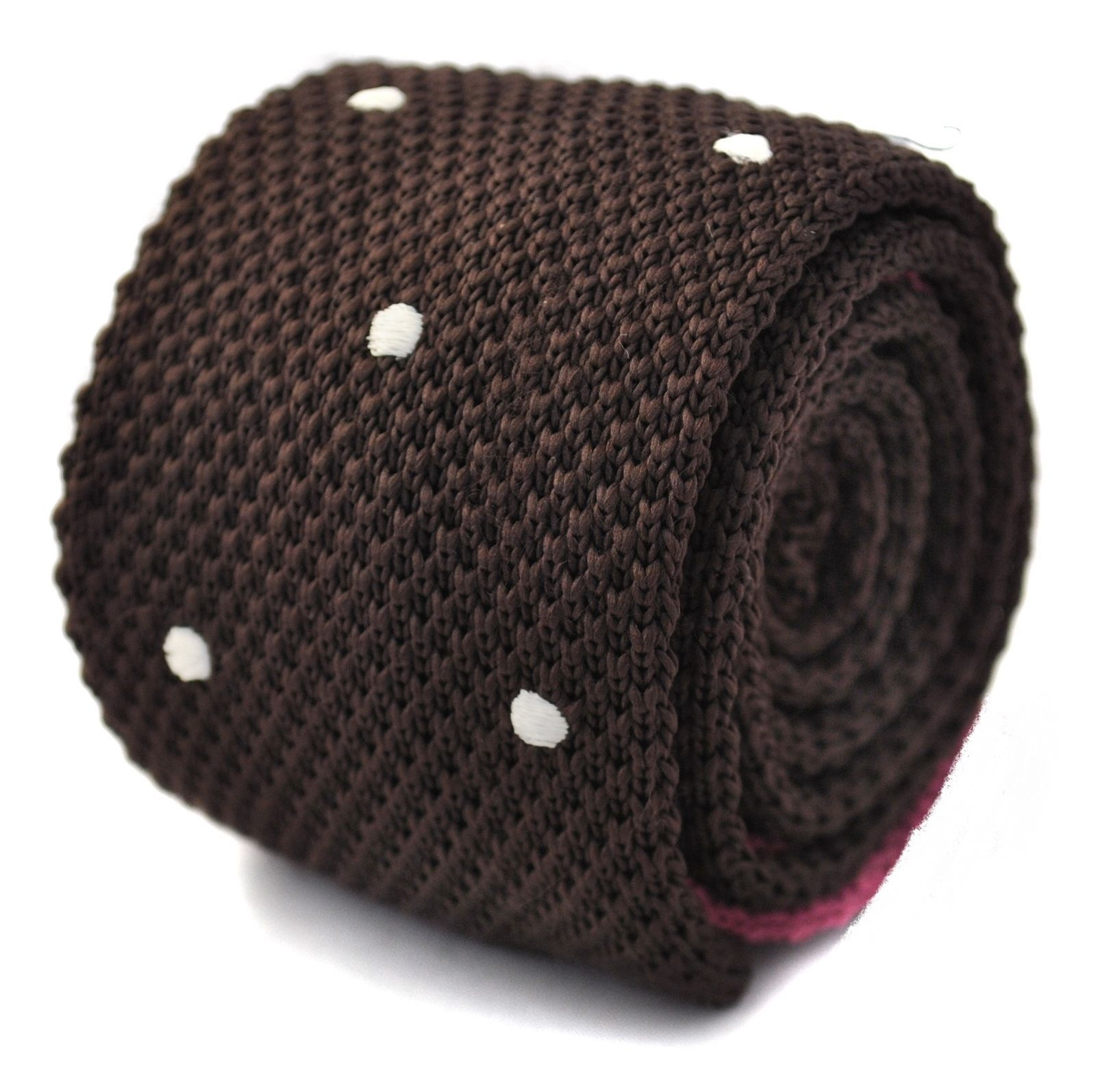 Frederick Thomas knitted chocolate brown and white spotted tie