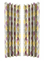 OGEE VERTICAL SWIRLS PATTERNED PURPLE FULLY LINED RING TOP CURTAINS *7 S... - $28.22+