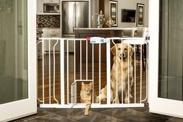 Wide Walk Thru Gate with Pet Door Dog Cat Indoor Fence Child Safety Baby... - $59.99