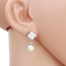UE- Silver Tone Designer Earrings With Faux Mother of Pearl Clover & Drop Pearl - $17.99