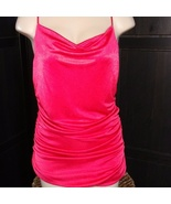 Express Metallic Scoop Neck Y-Back Top Ruching Red Size L NWT - $49.50