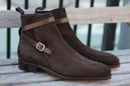 Handmade Men's Chocolate Brown Jodhpurs Ankle High Monk Strap Suede Boots image 3