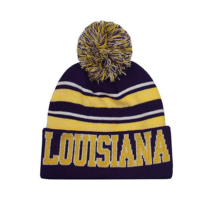 Louisiana Men's Blended Stripe Winter Knit Pom Beanie Hat (Purple/Gold)