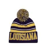 Louisiana Men's Blended Stripe Winter Knit Pom Beanie Hat (Purple/Gold) - $12.95