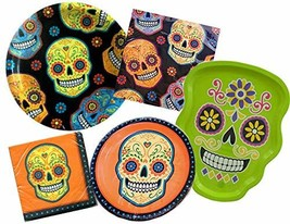 Sugar Skull Day of The Dead Halloween Party Supply Bundle for 16 Guests ... - $24.89