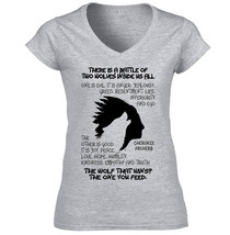 American Native Indian Two Wolves - New Cotton Grey Lady Tshirt - $25.75