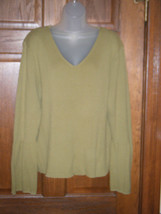 Newport News Lime Green V-Neck Bell Sleeve Ribbed Sweater - Size 3X - $14.84
